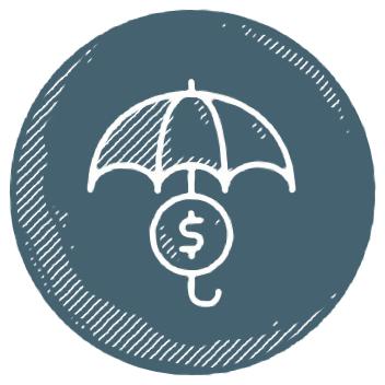 umbrella and coin icon