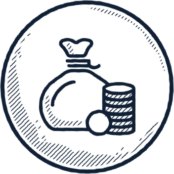 bag of money and coins icon