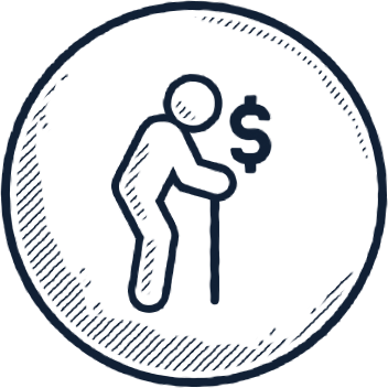 stick figure with dollar sign icon